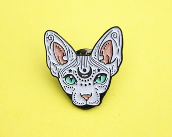 Mystical Sphynx cat enamel pin, cat pin - badge - lapel pin