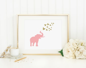 Elephant Blowing Hearts Printable Pink and Gold Nursery Decor Pink Elephant Print Girl Nursery Wall Art Gold Glitter Hearts Heart Wall Art