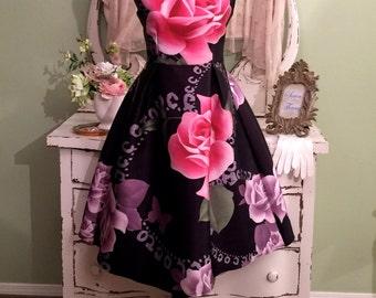 Rose Print Novelty Dress, Princess Rockabilly, Pink & Black Dress, Boat Neck Dress, Sleeveless Dress, 50s Retro Style Party Dress, Small
