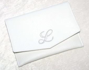 "White Bride Clutch • Bridesmaid Clutch • Embroidered Monogram Initial • Evening Handbag • Vegan Leather • Prom Handbag • Envelope • 8"" x 6"""