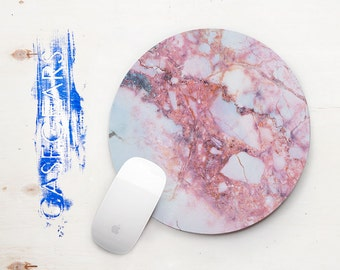 Pink Marble Mouse Pad Pink Marbled Stone Mousepad Marble Mouse Pad Natural Stone Pink Stone Mouse Pad Office Accessory Marble Mouse Pad 01