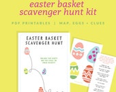 Easter Basket Scavenger Hunt Kit - Includes a Map, Eggs + Clues - Easter Egg Hunt - Easter Printable + Instant Download!