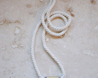 StayGoldMaryRose - Elegant teal 'Majorelle' vintage stoneware and brass pendant on long ivory twisted cotton rope.