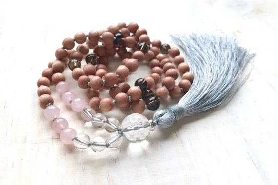 Love and Patience Mala Beads, Mala Of Unconditional Love, Rose Quartz And Clear Quartz Mala Necklace,  Rosewood Mala Beads, Yoga Mala