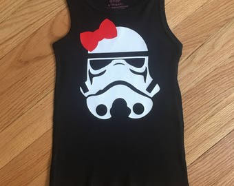 Storm trooper shirt, storm trooper with bow, Star Wars girl, star wars shirt, star wars party, storm trooper partystorm trooper girl