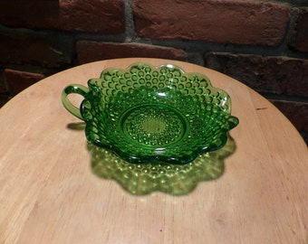 Vintage Green Hobnail dish with handle, Green dish with handle, scalloped green dish, Green candy dish