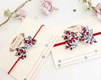 Strawberry print bow - strawberry floral headband - strawberry glitter headband - baby bow headband - bow headband - bow clip