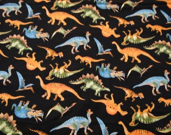 BTY Prehistoric Dinos DINOSAURS ALLOVER Print on Black 100% Cotton Quilt Craft Fabric by the Yard