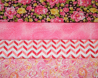 4 FQ Bundle – Pink FLORAL Prints - 100% Cotton Quilt Craft Fabric Fat Quarters