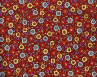 BTY BRIGHT FLORAL on Rust Print 100% Cotton Quilt Crafting Fabric by the Yard