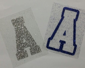 Individual Glitter Iron-On Athletic Letters