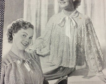 Vintage knitting pattern 1940's Weldons A1030 two lacy bed jackets