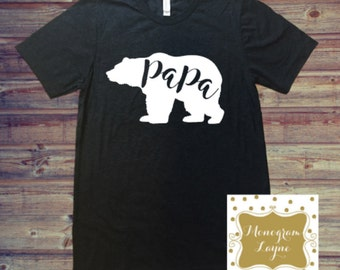 Papa Bear Shirt - Papa Bear Tee - Papa Bear - Bear Shirt - Dad Shirt - Monogram Layne