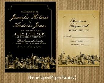 Elegant New York City Skyline Wedding Invitation,Black and Gold,Cityscape Sketch,New York New York,Time Square,Big Apple,Printed Invitation