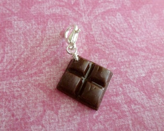 Chocolate Bar Miniature Food Jewelry Gifts for Her Chocolate Bar Charm Polymer Clay Candy