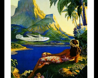Hawaii Pan American Retro poster  Custom Framed A+ Quality