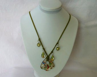 Glass Pendant with Beads
