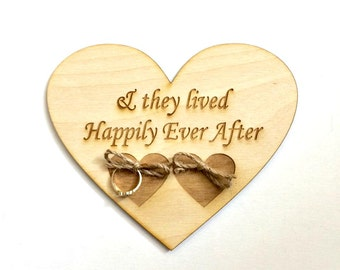 Rustic wedding ring bearer pillow alternative - wood heart happily ever after