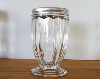 Vintage Jeannette Glass Jennyware Clear Shaker, Footed 1930's, Hoosier Jar