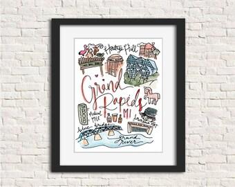 Grand Rapids, Michigan (MI) Watercolor Handlettered Art Print Wall Art Gift