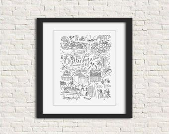 Chattanooga, Tennessee Black and White Illustration Art Print // 8x10 and 11x14