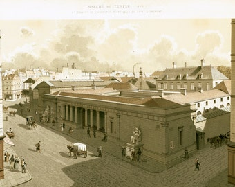 1881 XL Antique lithograph of Paris, Market of the Temple in 1840, French Architecture, Historical monuments, Marais distict