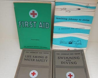 American Red Cross First Aid, Swimming and Diving, Life Saving & Water Safety, Teach Johnny to Swim, Vintage First Aid Books 1930s 1950s