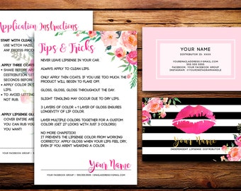 LipSense Business Cards Buyers Cards // Senegence Custom Striped Watercolor Florals