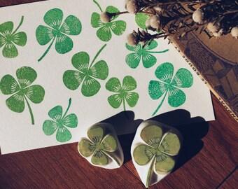 clover hand carved rubber stamps. garden stamp.spring crafts.clover leaf stamp.Style3