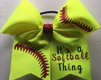 "Softball Hair Bow/Neon Yellow Softball Bow with red seems and ""its a softball thing""/Personalized Hairbows/Customized Hairbows/Custom Hair B"