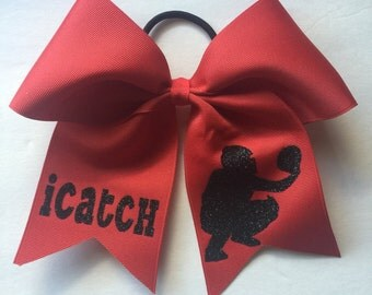 "Personalized Softball Bows/ Personalized Softball Pitcher Bow with ""iCatch"" quote/Personalized Hairbows/Customized Hairbows/Custom Hair Bows"