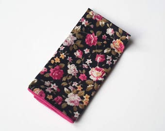 Men's Black Floral Pocket Square, Wedding Pocket Square, Grooms Pocket Square