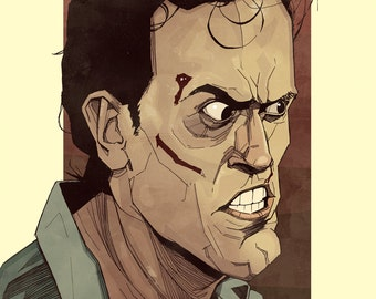 Bruce Campbell Ash from Evil Dead Illustrated Art Print