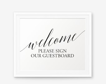 Wedding Guestboard Sign Printable, Please sign our guestboard, Wedding welcome sign, Wedding Decor, wedding reception sign, Style 1