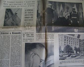 Former french newspaper, 24/25 November 1963, after the death of John Fitzgerald Kenndy, Original newspaper