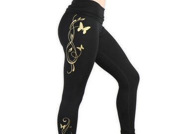 Butterfly Leggings- Lightweight Yoga Tights- Fold At Waist Tapered Pants- Butterfly Yoga Pants- LPA3 - Gold on Black
