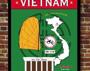 Vietnam Saigon Hô-Chi-Minh Poster Travel Decoration Vintage Asia