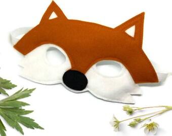Fox Mask - Woodland Mask - Animal Mask - Fox Costume - Woodland Animal Party - Animal Costume - Fox Disguise - Felt Mask