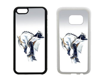Samsung Galaxy Rubber Case S8 Plus, S7 Edge, S6 Plus, S5 S4, iPhone 8 7 6 6S Plus, X SE 5C 5S 5 4S, Horse rider bumper phone cover. R288