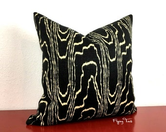 Kelly Wearstler Agate Pillow Cover - Ebony/Beige - Beige on Black - Choose 1 SIDED OR 2 SIDED -  Designer