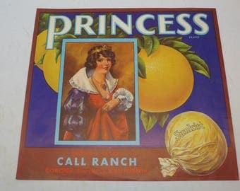 Vintage Fruit Packing Label - Produce Label - Sunkist - California Fruit Packing Label - Princess Brand Fruit Packing Label - Corona
