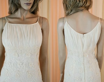 90's Vintage Wedding Dress - Vintage Empire style - Lace bridal gown - Very nice elegant ivory wedding dress from the 90s