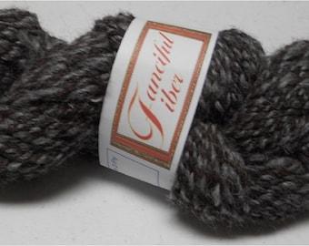 Handspun 100% Alpaca Yarn 2 Ply Gray Grey/Plum Aran 8 WPI (5)