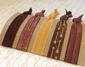 Hair Ties, No Crease Hair Ties, No Crease Hair Elastic, Ribbon Hair Ties, Yoga Hair Ties, Creaseless Hair Ties, Neutral, Gold, Wine, Brown