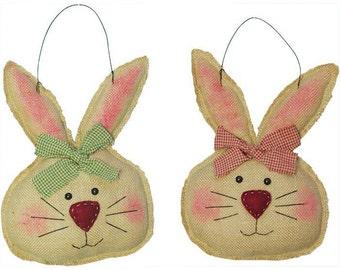 Burlap Bunny Head- Set of 2/Wreath Supplies/Easter Bunny Hanging/Easter Decor