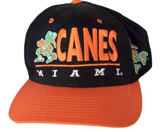 Vintage Miami Hurricanes Snapback Hat by Clutch Player Rare NCAA Black 90s