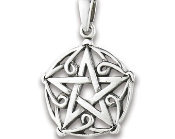 "Silver Celtic Pentagram Pendant on 18"" silver chain"
