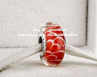 2017 Mother's Day Gift  S925 Sterling Silver Red  Murano Glass Charms Beads Fits All European Style Bracelets Necklaces  Z342