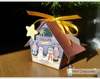 "PRINTABLE GIFT (or treats) BOX ""Nativity scene"" (digital template)"