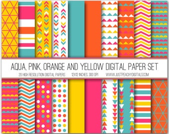 aqua, pink, orange and yellow modern digital scrapbook paper with geometric patterns